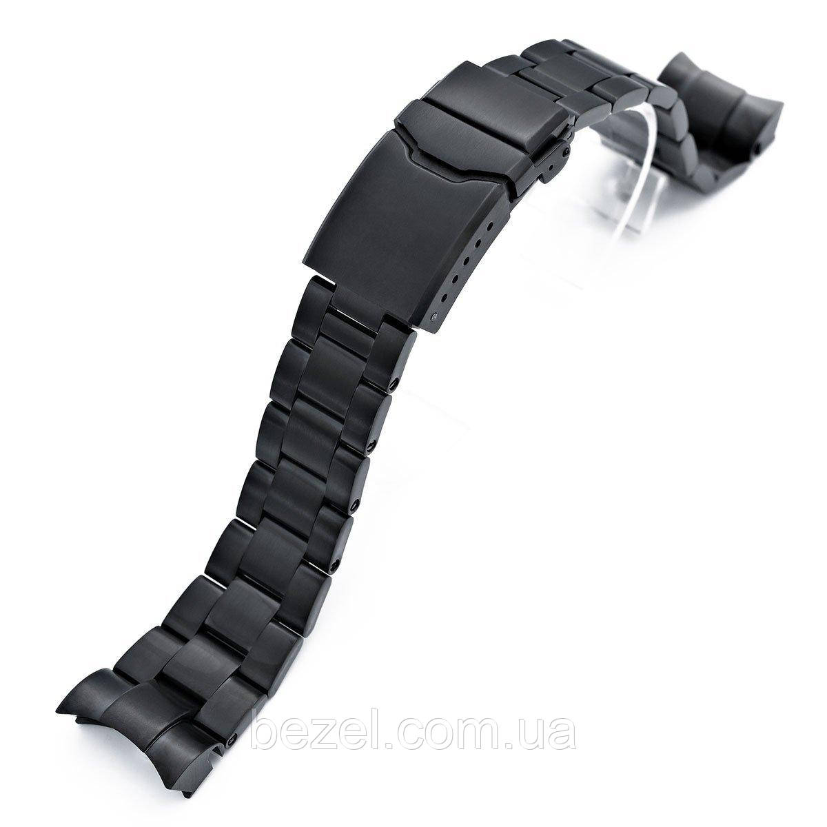 22mm Super 3D Oyster 316L Stainless Steel Watch Bracelet for Tudor Black Bay, Button Chamfer Clasp PVD Black
