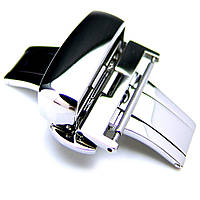 20mm, 22mm, 24mm Deployment Buckle / Clasp, Polished Stainless Steel for Leather Strap, фото 1