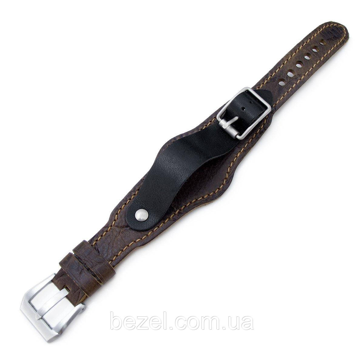 20mm Hezzo Bund Military Style Double-layer Watch Strap, Scratch Brown Pattern Leather of Art
