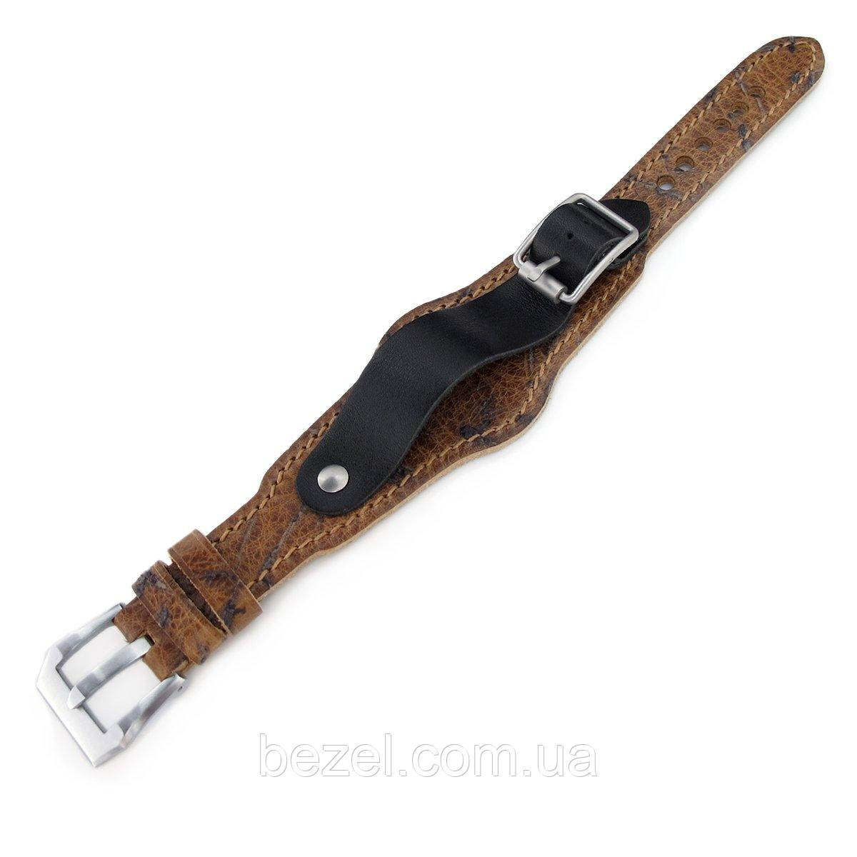 20mm Hezzo Bund Military Style Double-layer Watch Strap, Heavy Scratch Brown Leather of Art