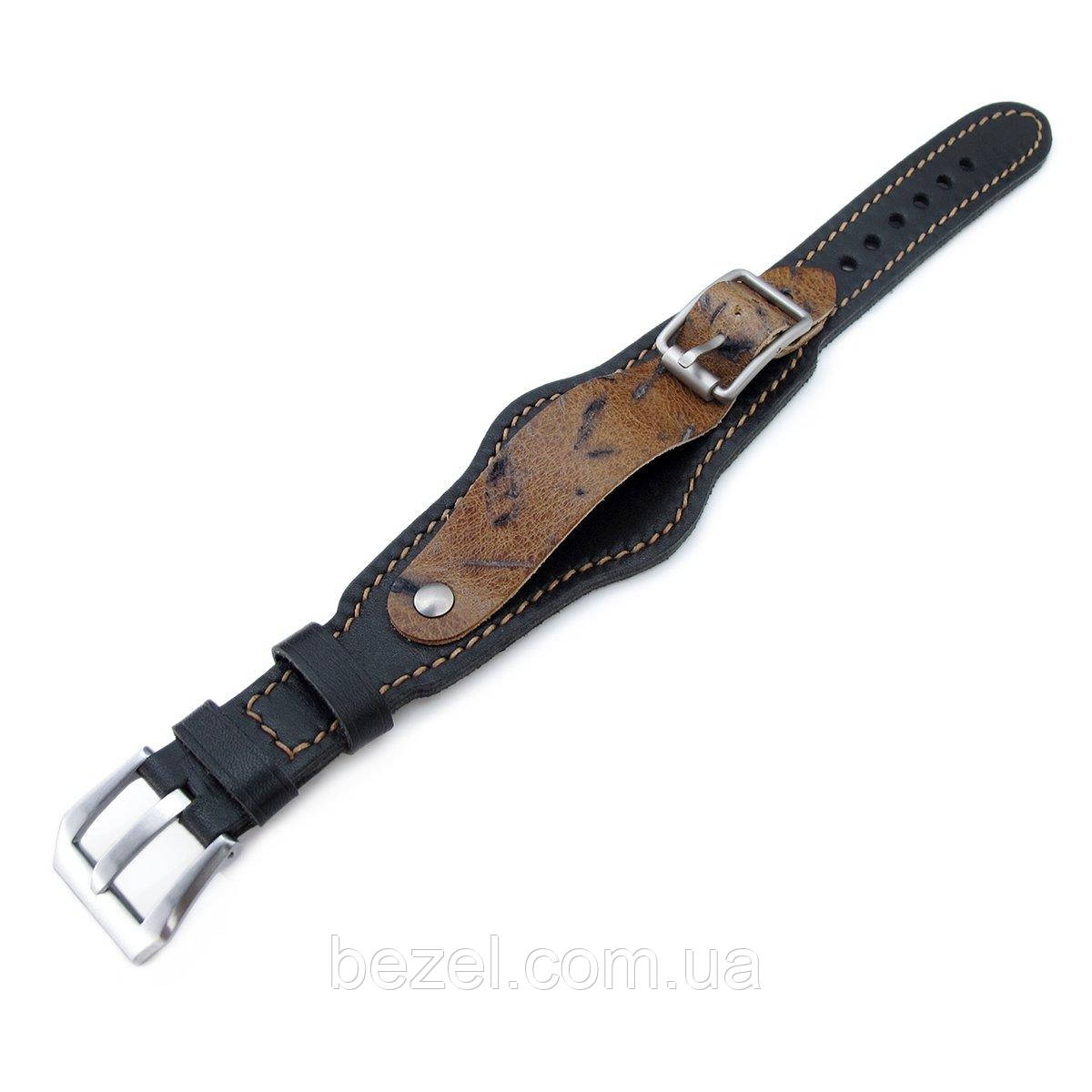 20mm Hezzo Bund Military Style Double-layer Watch Strap, Black Italian Leather