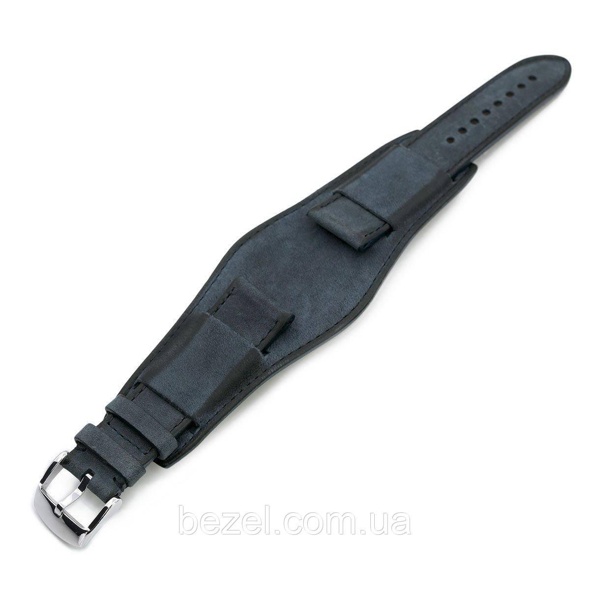 22mm Italian Handmade Bund Military Style Double-layer Watch Strap, Navy Blue