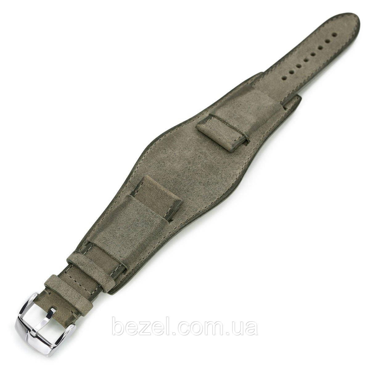 22mm Italian Handmade Bund Military Style Double-layer Watch Strap, Khaki Grey