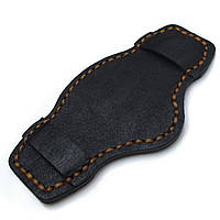 Matte Black Pull Up Leather BUND Pad for 20mm - 24mm watch straps, Brown Wax Stitching, фото 1