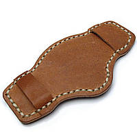 Saddle Brown Pull Up Leather BUND Pad for 20mm - 24mm watch straps, Beige Wax Stitching, фото 1