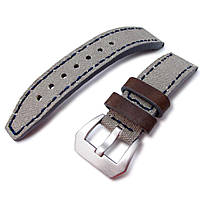 20mm, 22mm MiLTAT Military Grey Leather Washed Canvas Ammo Watch Strap in Blue Stitches, фото 1