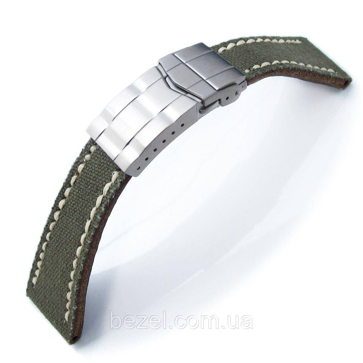 20mm or 21mm MiLTAT Military Green Canvas Submariner Clasp Watch Strap, Wax Hand Stitches