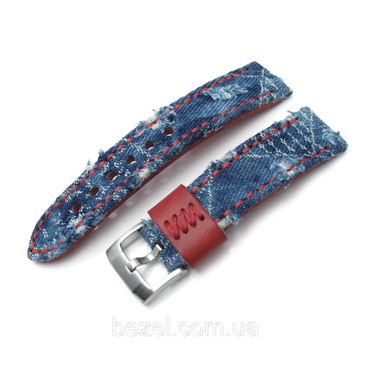 22mm MiLTAT Zizz Collection Distressed Denim Watch Strap Red Wax Hand Stitching