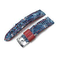 22mm MiLTAT Zizz Collection Distressed Denim Watch Strap Red Wax Hand Stitching, фото 1