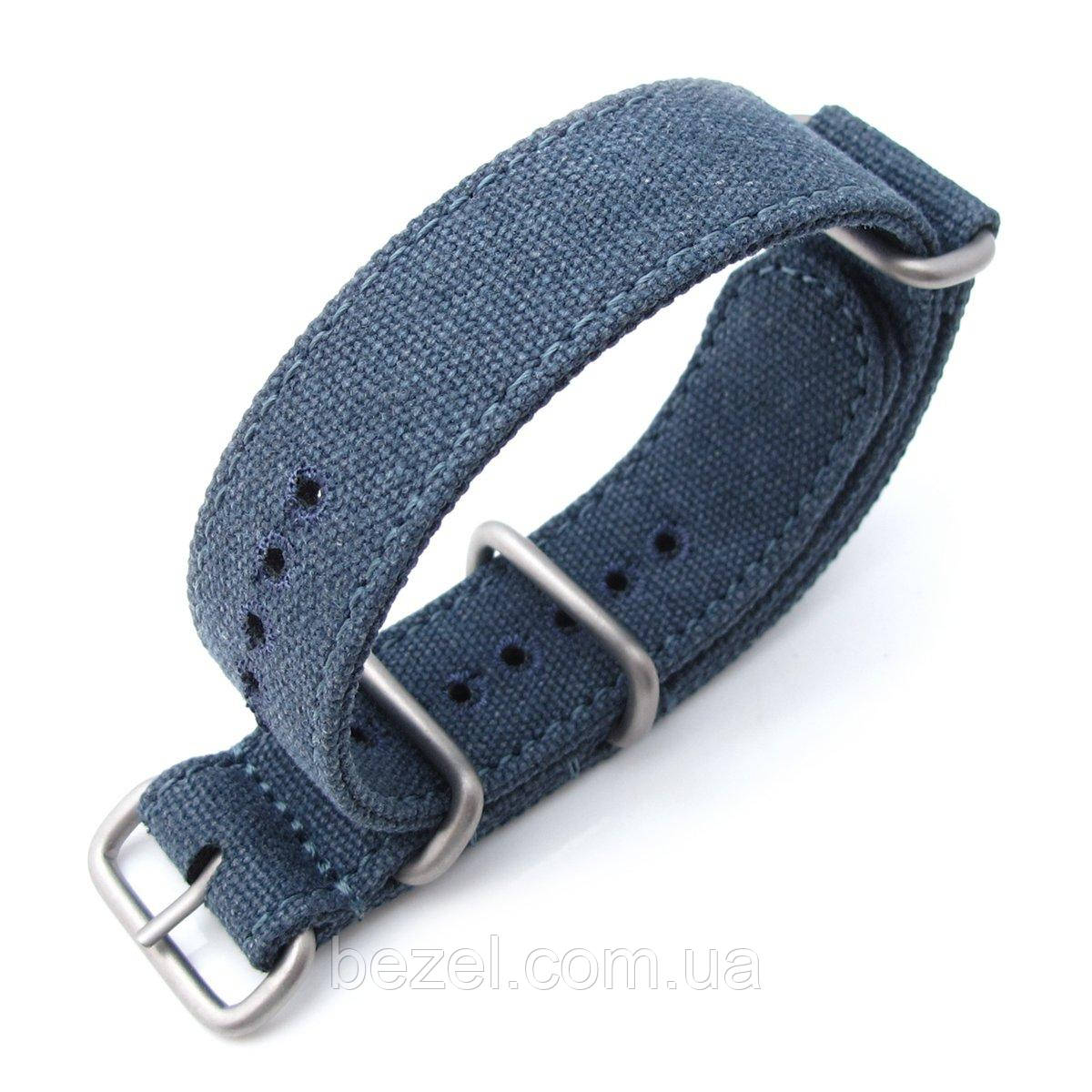 MiLTAT 20mm Washed Canvas Zulu Navy Blue Double Thickness Watch Strap, Lockstitch Round Hole