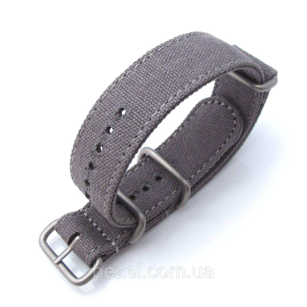 MiLTAT 20mm or 22mm Washed Canvas Zulu Military Grey Double Thickness Watch Strap, Lockstitch Round Hole