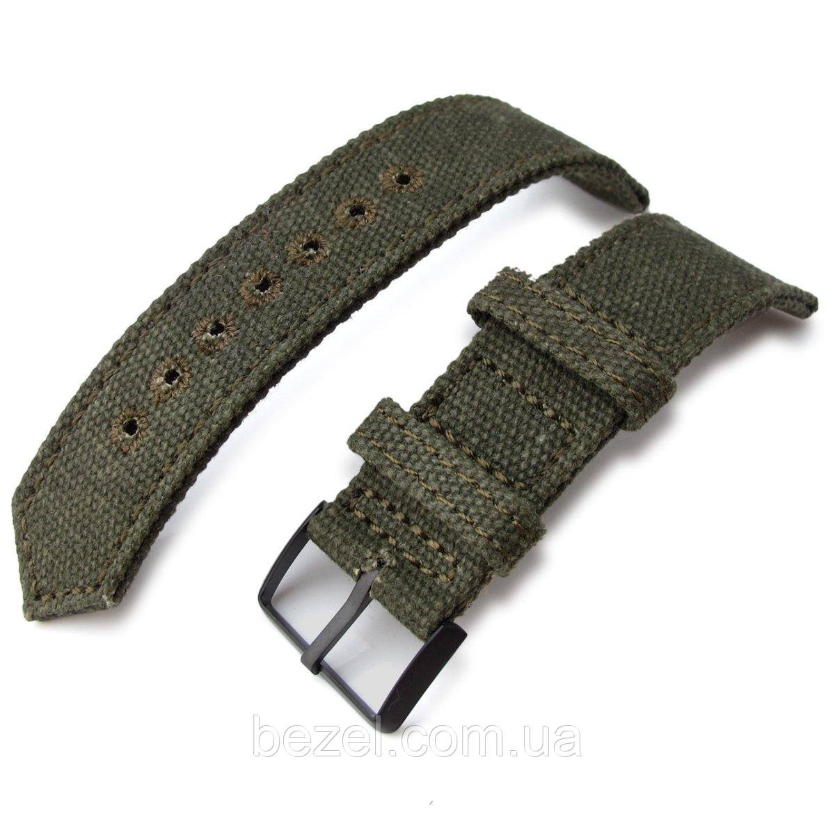 20mm, 21mm or 22mm MiLTAT WW2 2-piece Military Green Washed Canvas Watch Band with lockstitch round hole, PVD Black