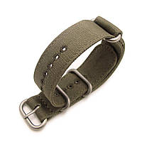 22mm MiLTAT Canvas G10 military watch strap, military color with lockstitch round hole, Green, фото 1