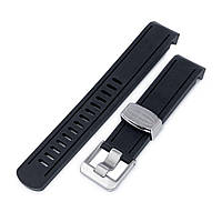 20mm Crafter Blue - Black Rubber Curved Lug Watch Band for Seiko Sumo SBDC001, фото 1