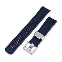 22mm Crafter Blue - Navy Blue Rubber Curved Lug Watch Band for Seiko SKX007, фото 1