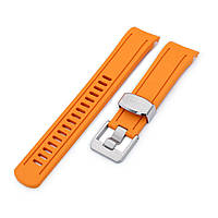 22mm Crafter Blue - Orange Rubber Curved Lug Watch Band for Seiko SKX007, фото 1