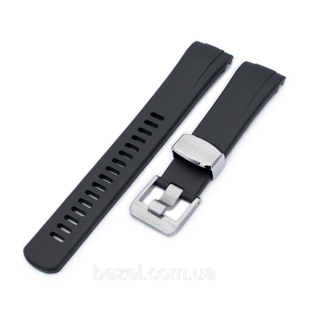 22mm Crafter Blue - Black Rubber Curved Lug Watch Band for Seiko Turtle SRP777