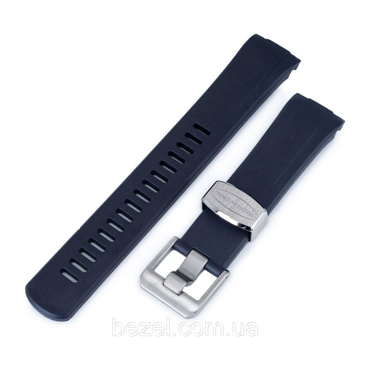 22mm Crafter Blue - Navy Blue Rubber Curved Lug Watch Band for Seiko Turtle SRP777