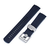 22mm Crafter Blue - Navy Blue Rubber Curved Lug Watch Band for Seiko Turtle SRP777, фото 1