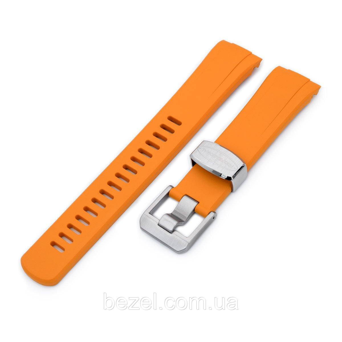 22mm Crafter Blue - Orange Rubber Curved Lug Watch Band for Seiko Turtle SRP777