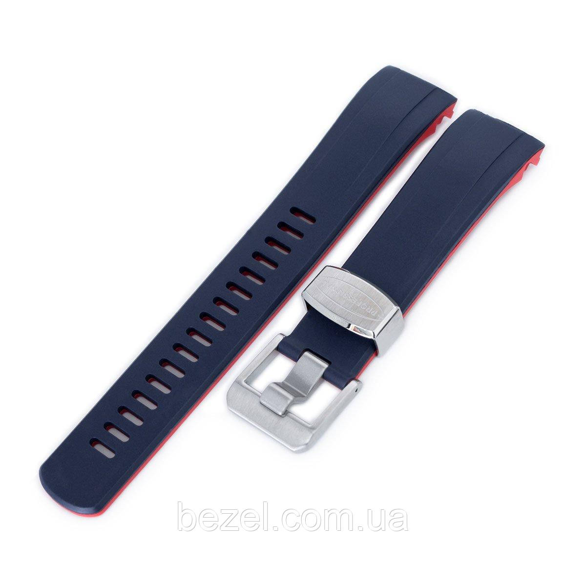 22mm Crafter Blue - Dual Color Blue & Red Rubber Curved Lug Watch Strap for Seiko Samurai SRPB51