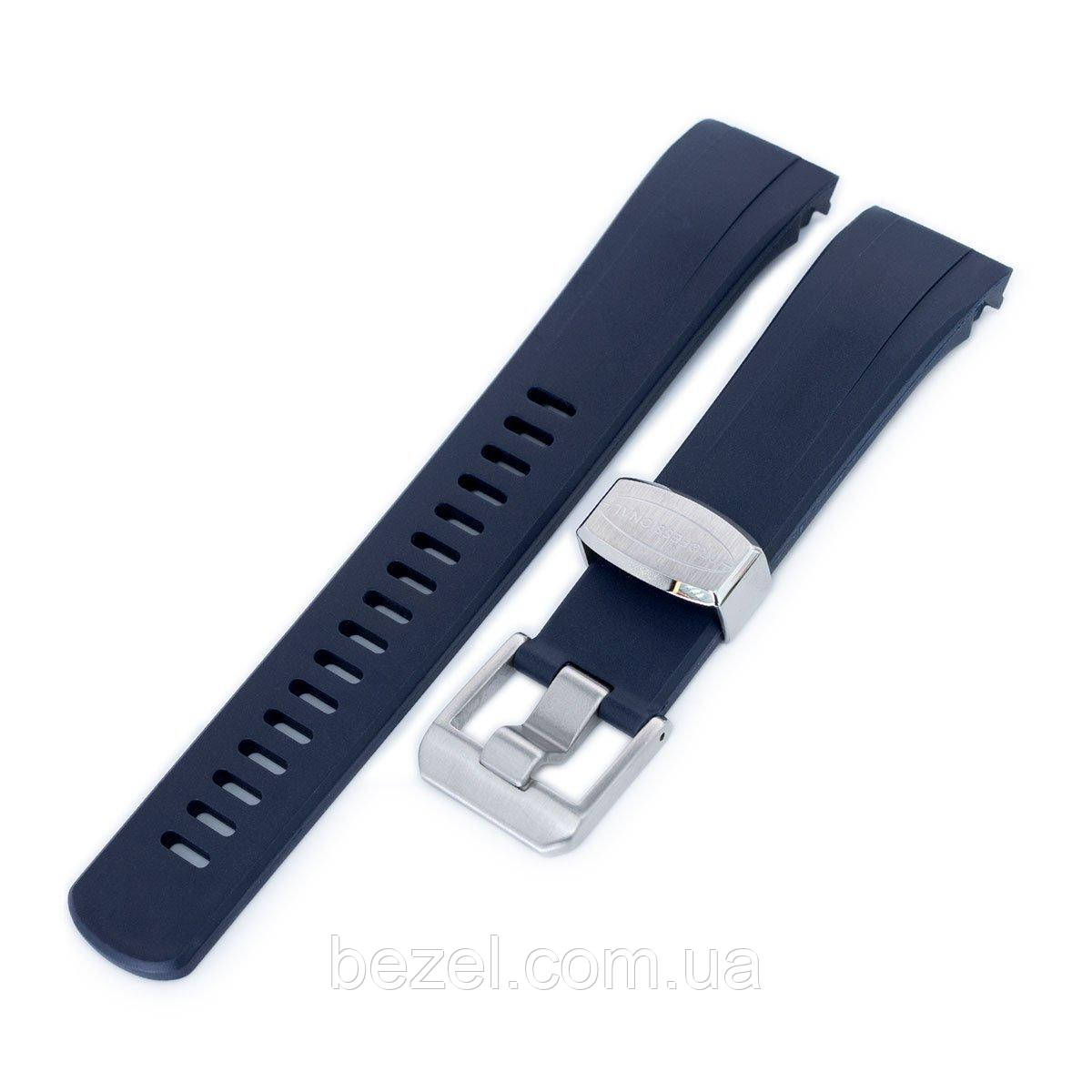 22mm Crafter Blue - Dark Blue Rubber Curved Lug Watch Strap for Seiko Samurai SRPB51