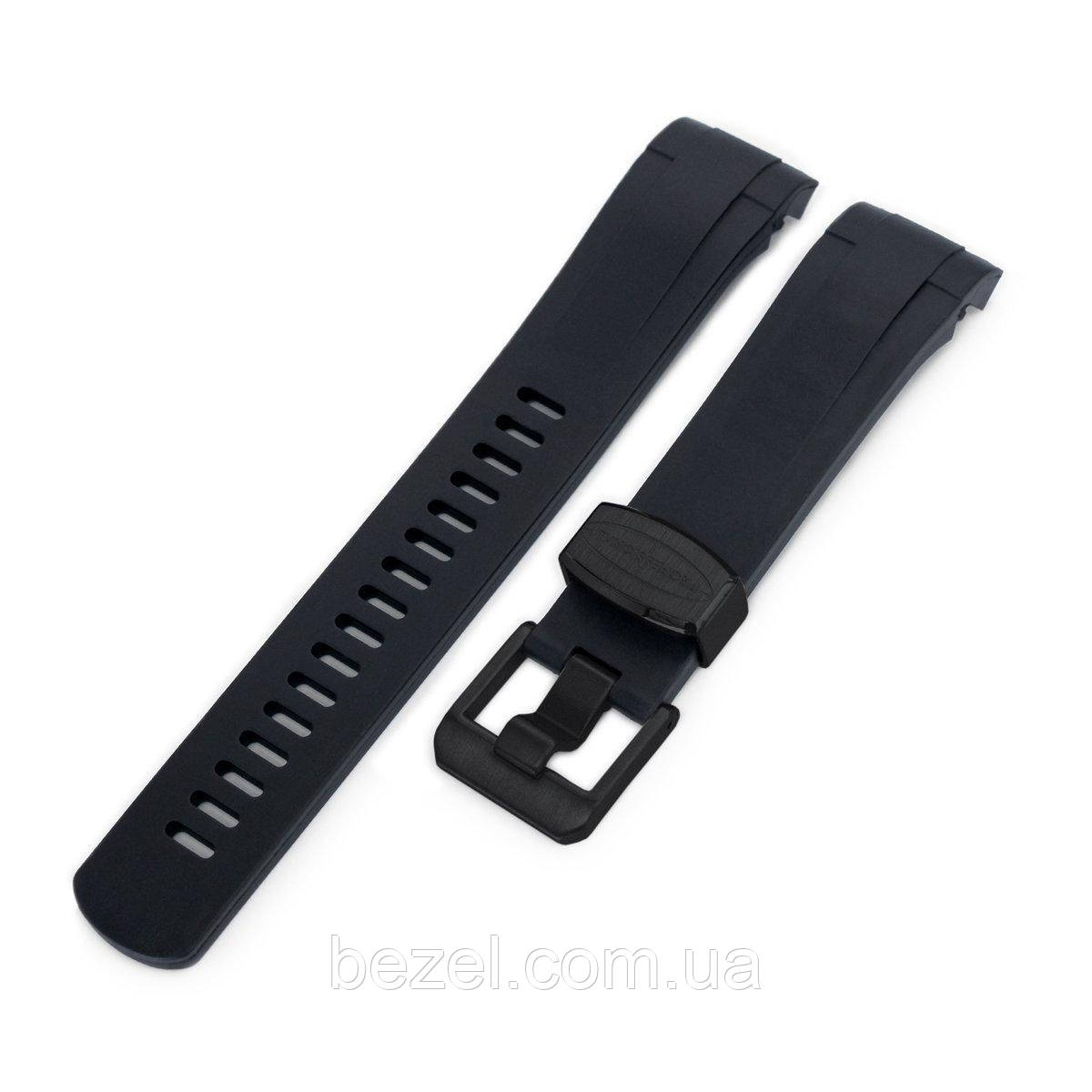 22mm Crafter Blue - Black Rubber Curved Lug Watch Strap for Tudor Black Bay M79230, PVD Black Buckle