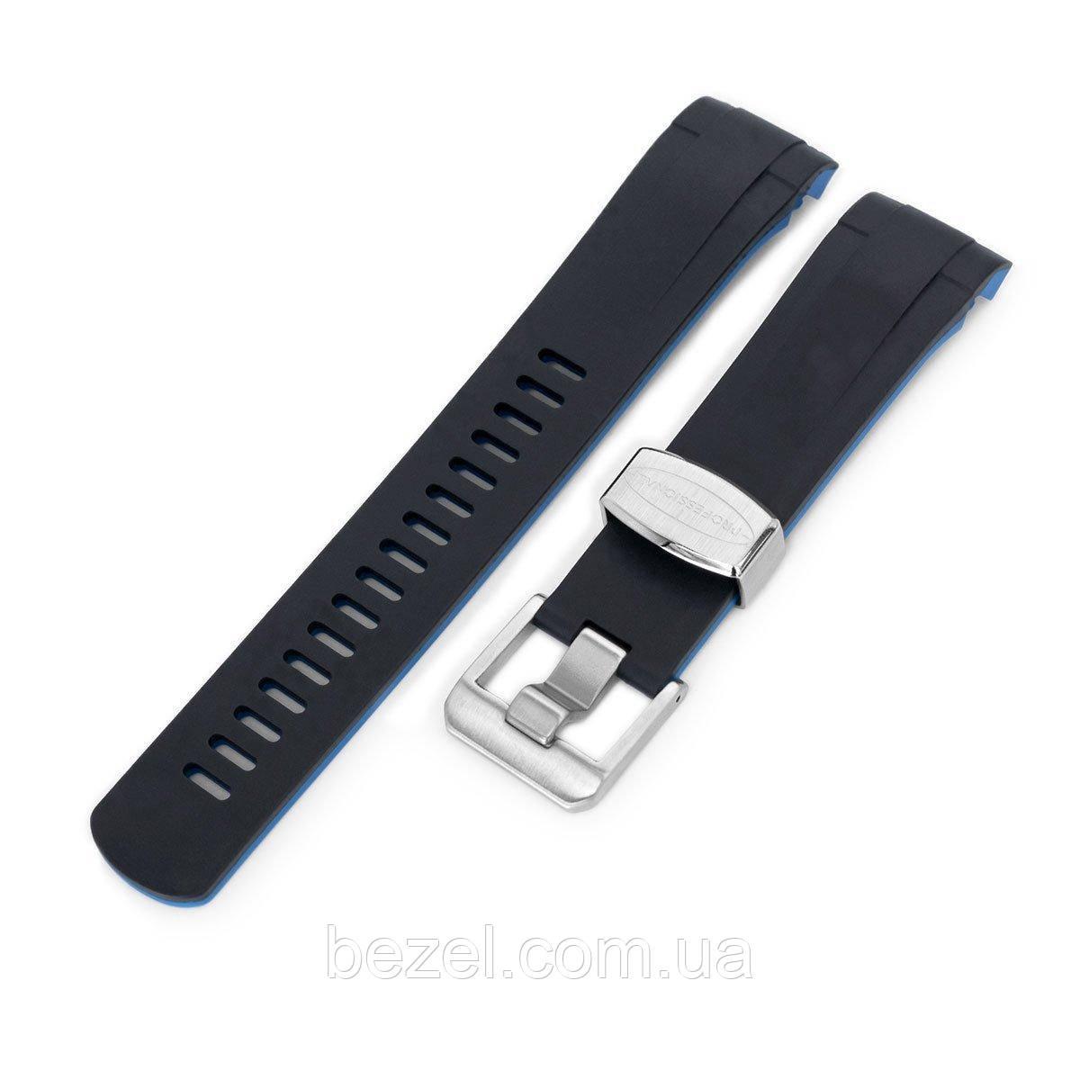 22mm Crafter Blue - Dual Color Black , Blue Rubber Curved Lug Watch Strap for Tudor Black Bay M79230