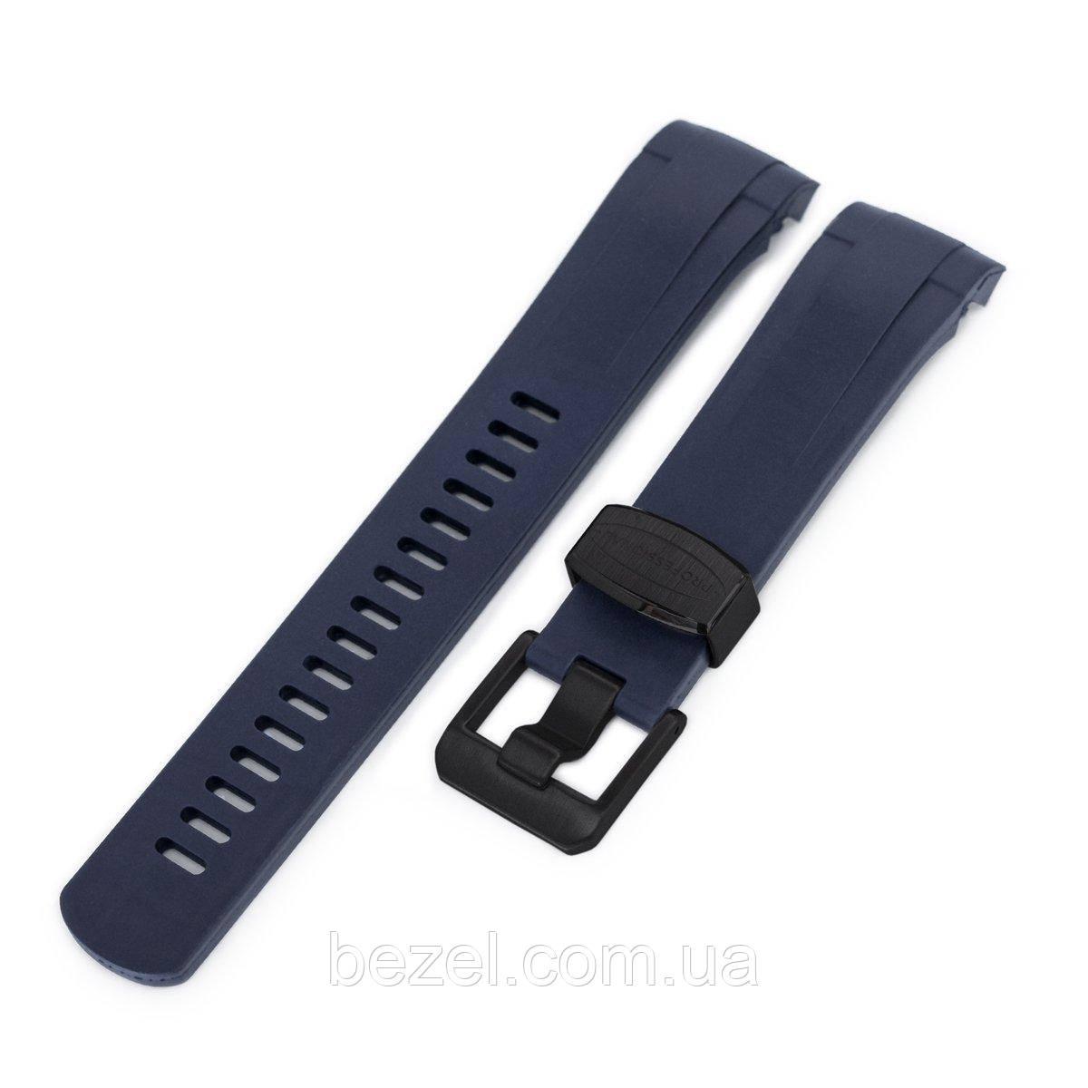 22mm Crafter Blue - Dark Blue Rubber Curved Lug Watch Strap for Tudor Black Bay M79230, PVD Black Buckle