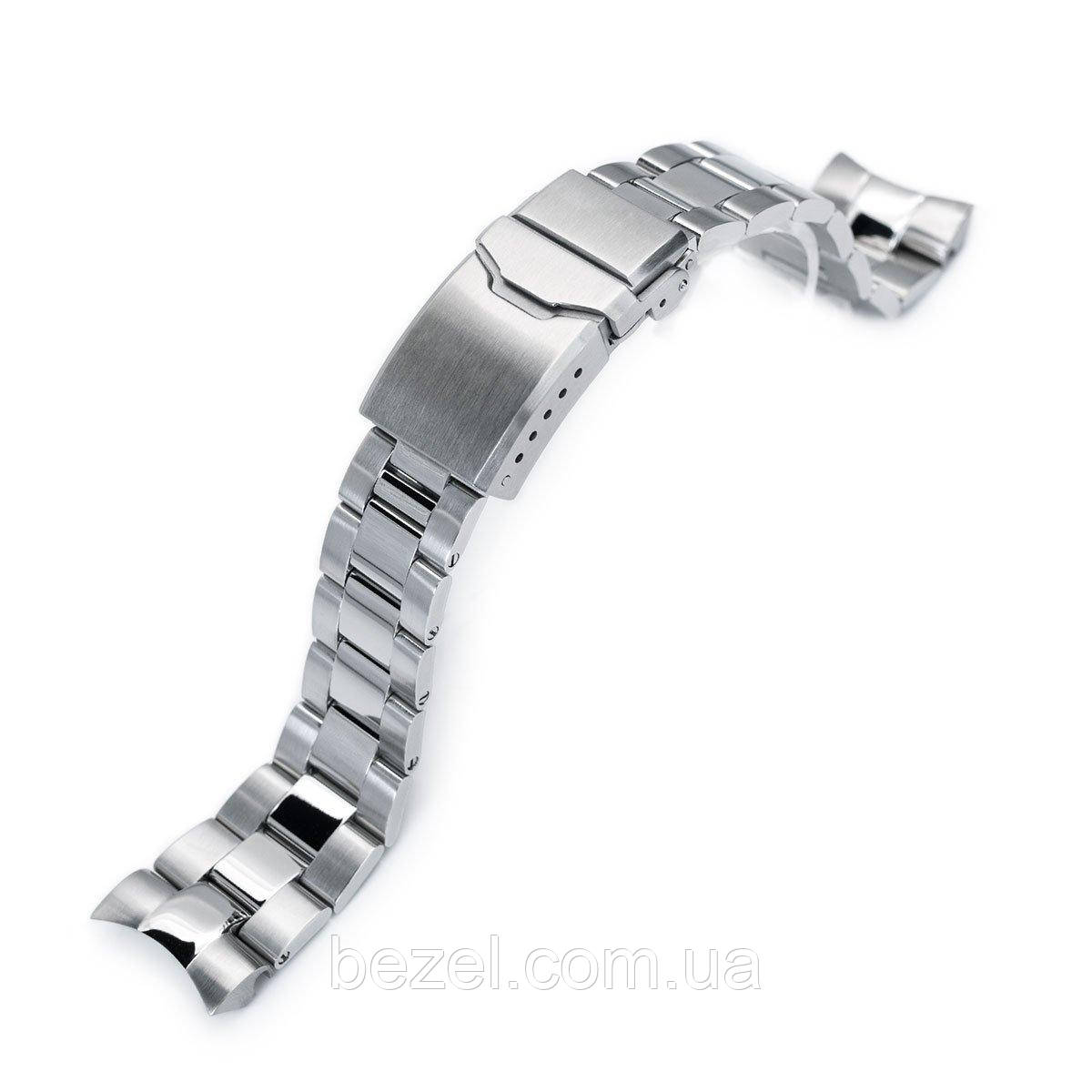 22mm Super Oyster Brushed & Polished 316L Stainless Steel Watch Band for Orient Mako II & Ray II, Button Chamfer