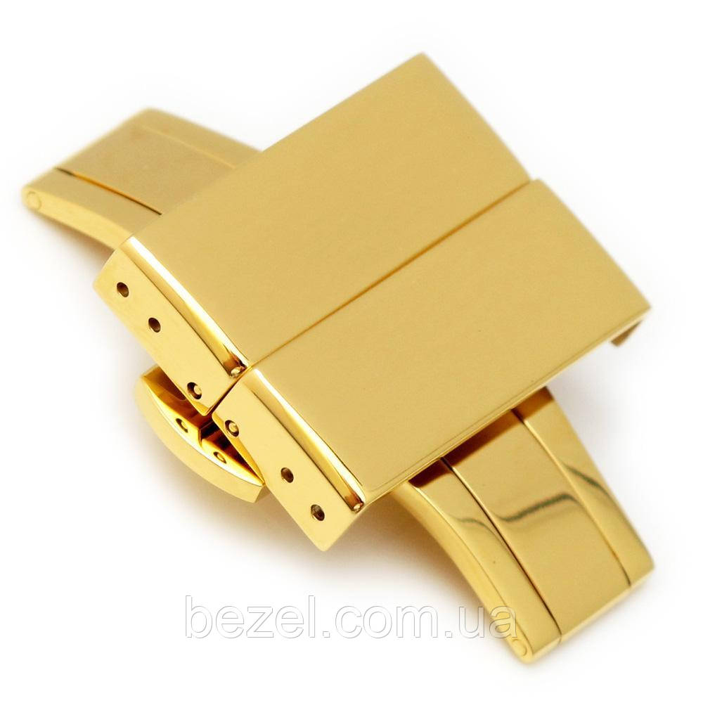 20mm, 22mm, 24mm Deployment Buckle / Clasp, IP Gold Stainless Steel with Release Button