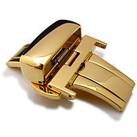 20mm, 22mm, 24mm Deployment Buckle / Clasp, Gold Plated Stainless Steel for Leather Strap, фото 1