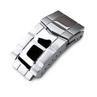 18mm Solid 316L Stainless Steel Double Locks Submariner Diver Clasp, Button Control, Polished & Brushed, фото 1