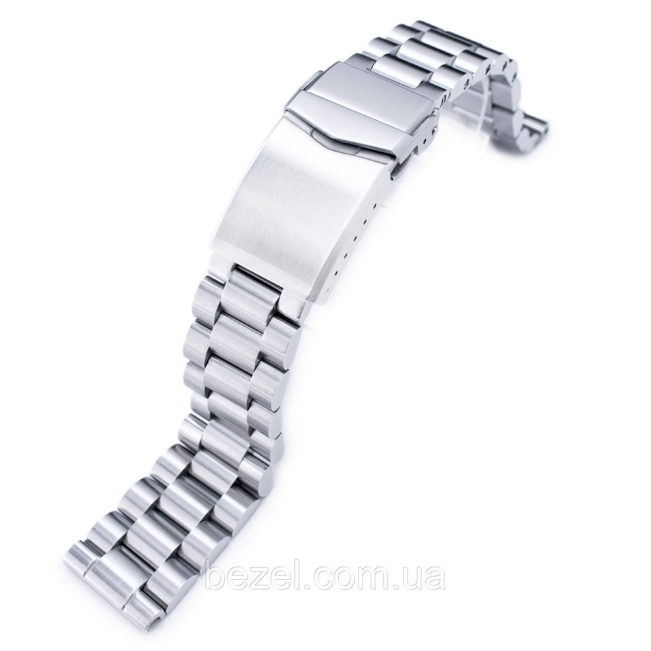 20mm Endmill Solid 316L Stainless Steel Watch Bracelet, Straight End, V-Clasp Button Double Lock