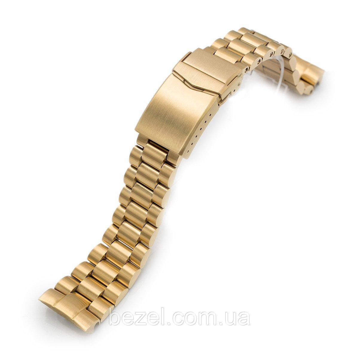 22mm Endmill 316L Stainless Steel Watch Bracelet for Seiko New Turtles SRPC44, V-Clasp full IP Gold