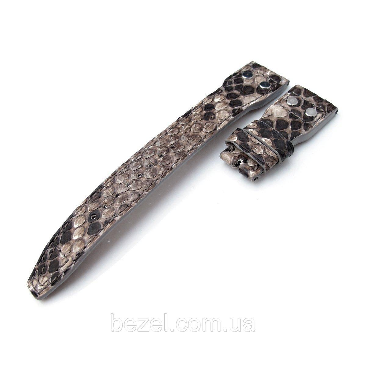 22mm MiLTAT Stone Beige Genuine Python IWC Big Pilot replacement Strap, Rivet Lug