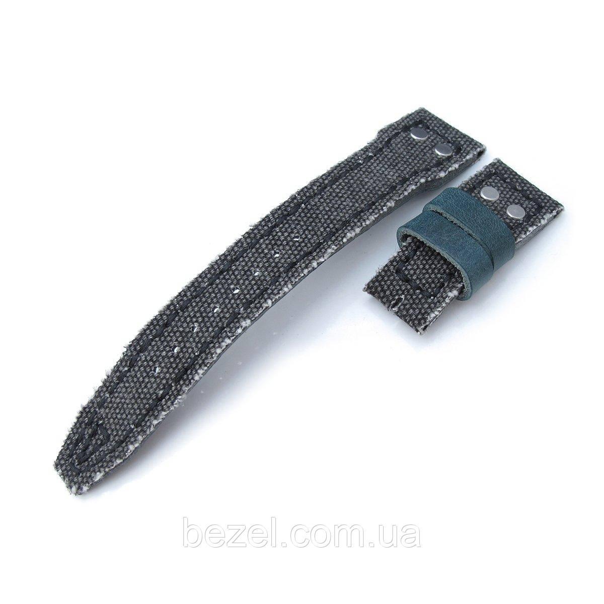 22mm MiLTAT Light Black Washed Canvas IWC Big Pilot replacement Strap, Rivet Lug