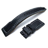 22mm MiLTAT Pull Up Leather Black IWC Big Pilot replacement Strap, Grey Wax Hand Stitching, фото 1