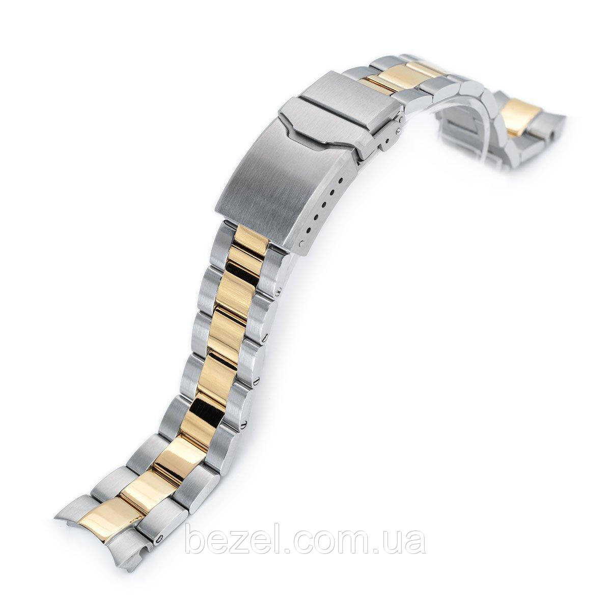 20mm Super 3D Oyster watch band for Seiko Alpinist SARB017, Two Tone IP Gold, Button Chamfer
