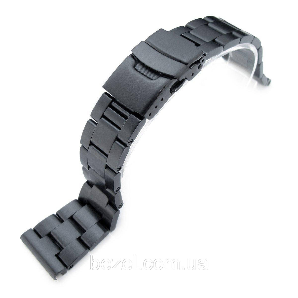 21.5mm Super Oyster 316L SS Metal Watch Band for Seiko Tuna, Diver Clasp, PVD Black