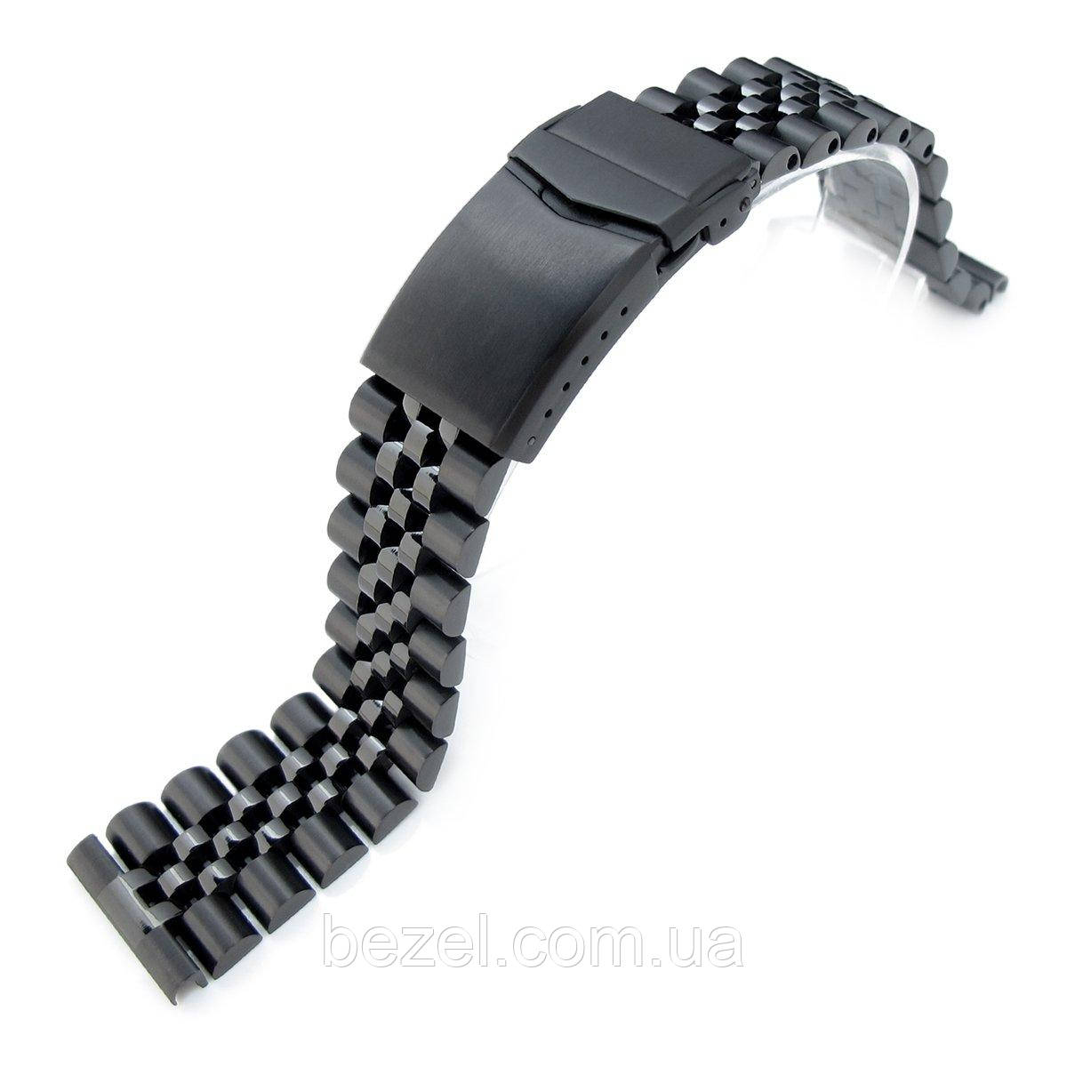 21.5mm Super Jubilee 316L Stainless Steel Watch Band for Seiko Tuna, V-Clasp Button Double Lock PVD Black