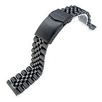 21.5mm Super Jubilee 316L Stainless Steel Watch Band for Seiko Tuna, V-Clasp Button Double Lock PVD Black, фото 1