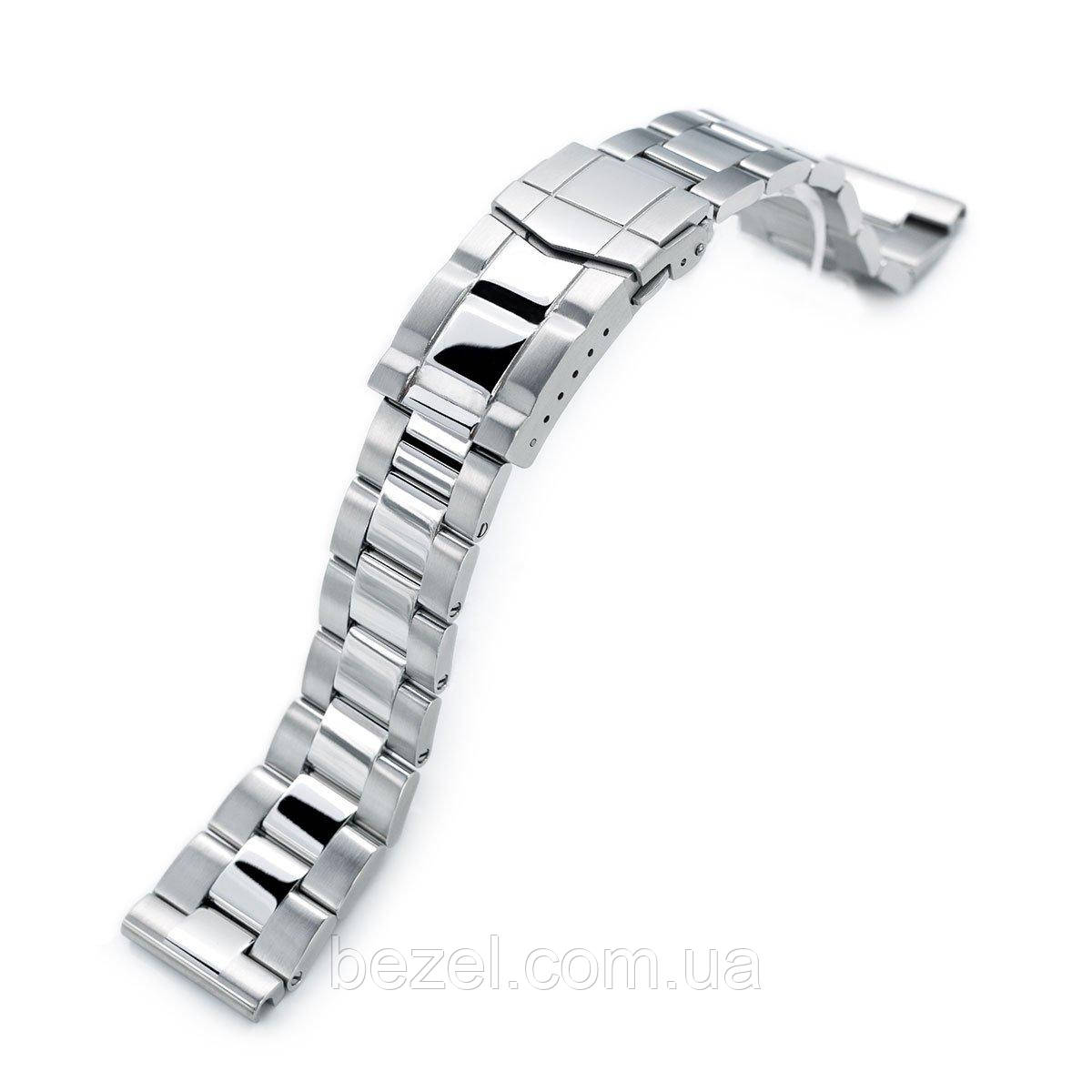 21.5mm Super Oyster 316L Stainless Steel Watch Band for Seiko Tuna, Brushed & Polished Submariner Clasp