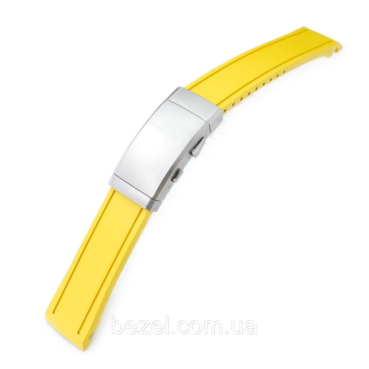 20mm Crafter Blue - Yellow Rubber Curved Lug Watch Band for Seiko MM300 Prospex Marinemaster SBDX001, Wetsuit Ratchet Buckle