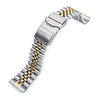 22mm Super 3D Jubilee 316L Stainless Steel Watch Bracelet for Seiko New Turtles SRP775, Button Chamfer Clasp Two Tone IP Gold, фото 1