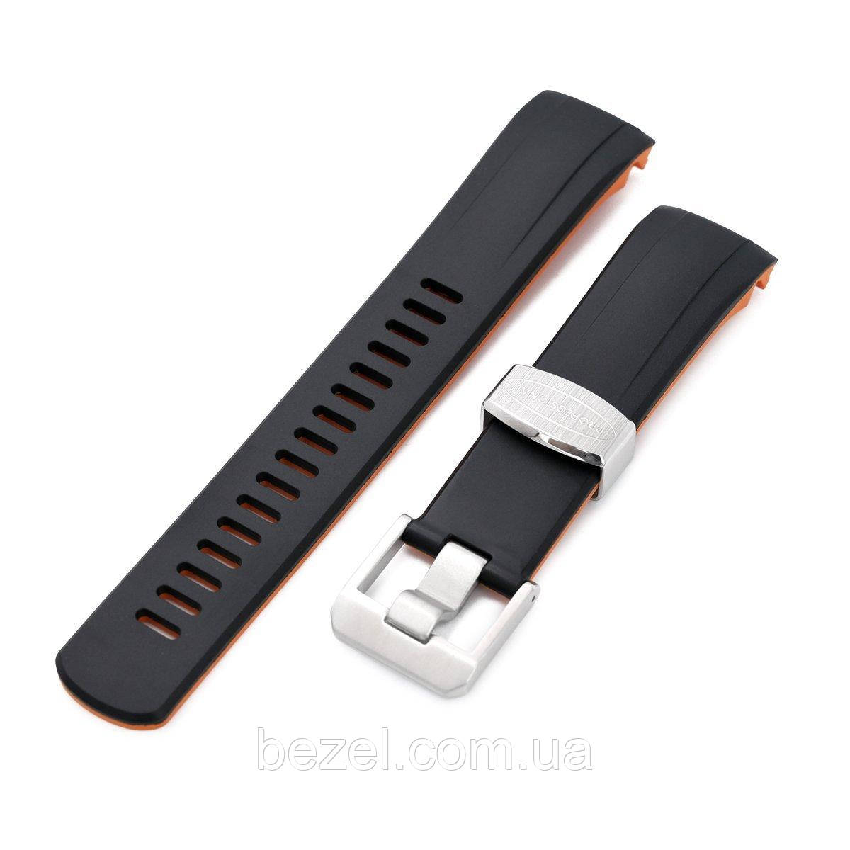 22mm Crafter Blue - Dual Color Black & Orange Rubber Curved Lug Watch Strap for Seiko Samurai SRPB51