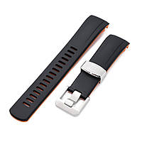 22mm Crafter Blue - Dual Color Black & Orange Rubber Curved Lug Watch Strap for Seiko Samurai SRPB51, фото 1