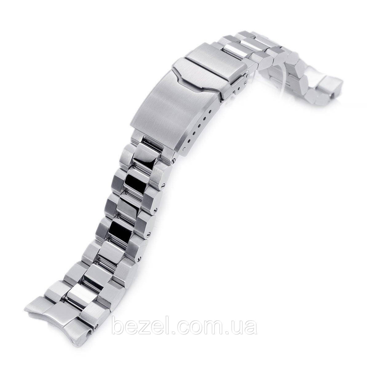 22mm Hexad Oyster 316L Stainless Steel Watch Band for Seiko Samurai SRPB51, Brushed & Polished Button Chamfer
