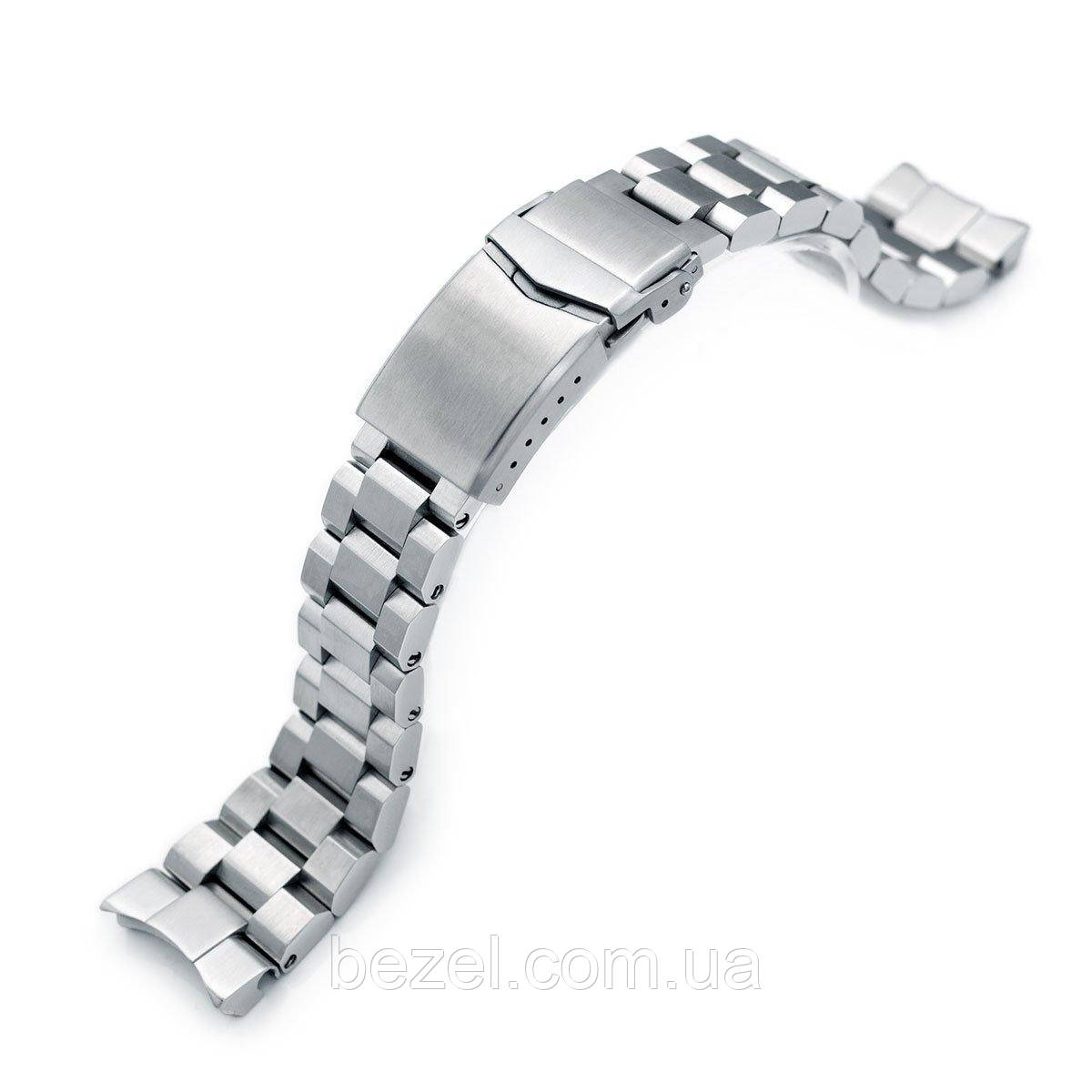 22mm Hexad Oyster 316L Stainless Steel Watch Band for Seiko Samurai SRPB51, V-Clasp Button Double Lock