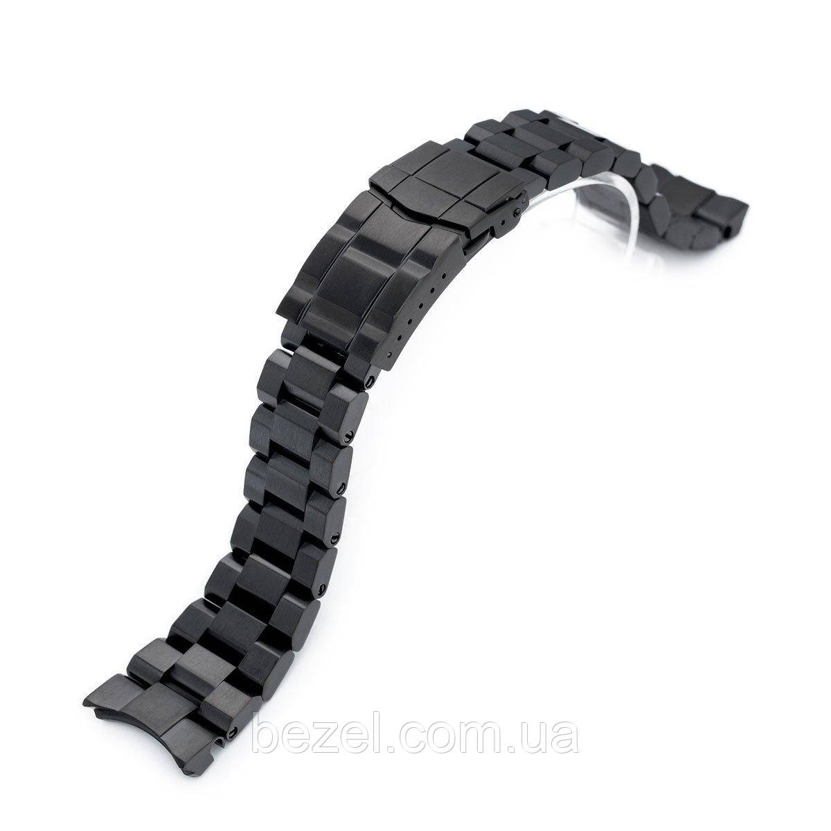 22mm Hexad Oyster 316L Stainless Steel Watch Band for Seiko Samurai SRPB51, SRPB55, Submariner Diver Clasp, PVD Black